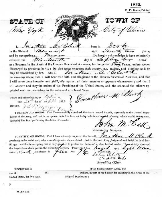 CLARK, Jonathan US Army registration 1813
