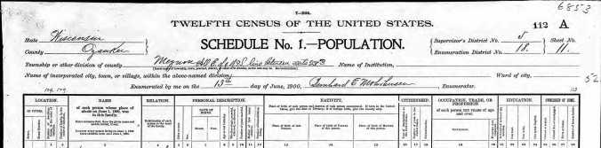 BECKER, N and family, Ozaukee 1900 census detail 3