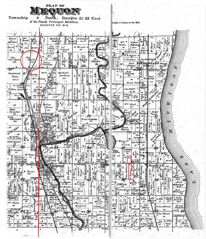 MAP Mequon Twp, Ozaukee Co, WI eastern part